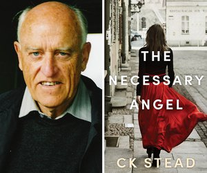 Image: CK Stead (c) Marti Friedlander and book cover of The Neccessary Angel