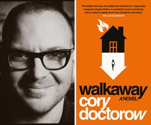 Cory Doctorow (c) Jonathan Worth and book cover of Walkaway