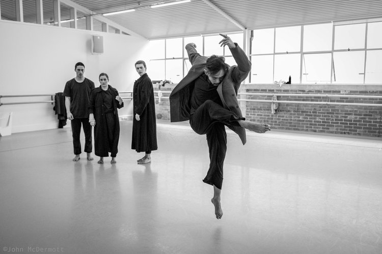 Carl Tolentino with dancers Toa Paranihi, Katie Rudd and Oliver Carruthers