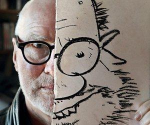Image of Tom Scott with cartoon self-protrait